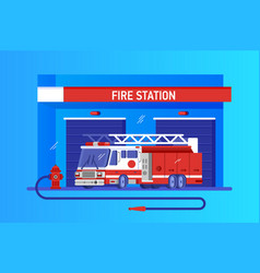 Fire station with truck rapid response service vector