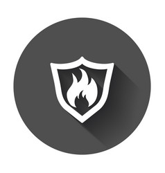 Fire warning sign shield fire flame with long vector