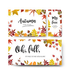 Floral autumn season watercolor card design set vector