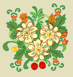 Floral bouquet with berries and yellow flowers vector image