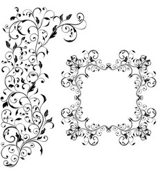floral decorative frame with background ornament vector image