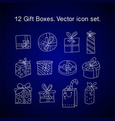 gift boxes with ribbons in various shapes vector image
