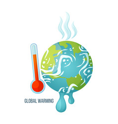 global warming planet with thermometer poster vector image