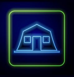 Glowing neon military barracks station icon vector