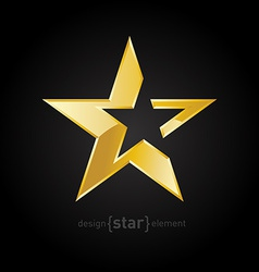 Gold abstract star on black background vector