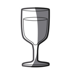 Grayscale silhouette of glass of wine vector