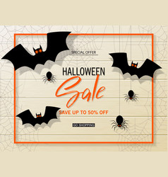 halloween sale web banner with bats on vector image