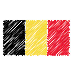 Hand drawn national flag of belgium isolated on a vector