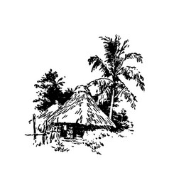 Hand drawn sketch of african village house black vector