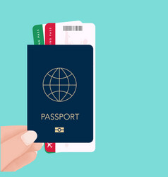 hand holding tickets boarding pass travel vector image