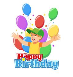 happy child birthday cartoon concept vector image