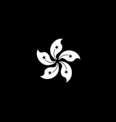 hong kong flag monochrome vector image