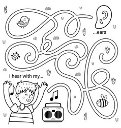 I can hear with my ears black and white maze game vector