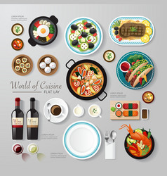 Infographic food business flat lay idea hipster vector