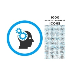 intellect gears rounded icon with 1000 bonus icons vector image