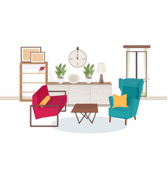 Interior of living room full of modern furniture vector