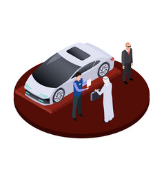 isometric arab man buys modern electric car vector image