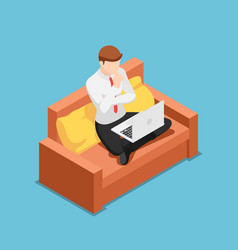 Isometric businessman thinking while working on vector