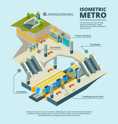 isometric subway station multiple subway levels vector image