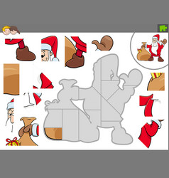 Jigsaw puzzle game with santa claus vector