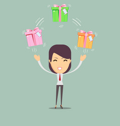 Joyful woman holding a lot of boxes with gifts vector