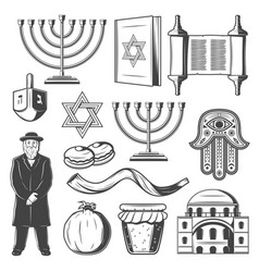 Judiaism icons and symbols vector