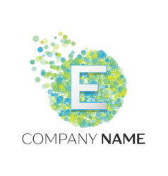 letter e logo blue green yellow particles vector image