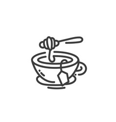line art icon hot tea with natural honey in vector image