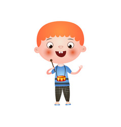 little admired red-haired boy plays the drum vector image