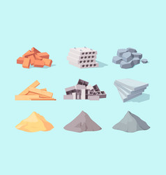 Material building set piles large gray cement vector