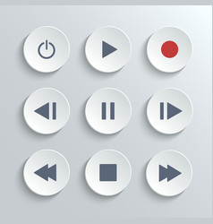 Media player control round button ui icon set vector image