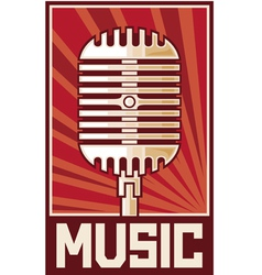 Music poster-microphone vector