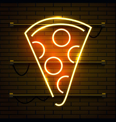 neon pizza sign on dark brick wall background vector image