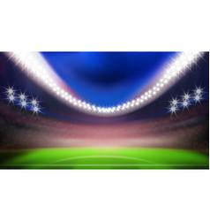 Night football stadium with bright lights vector