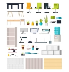 Office Interior Elements Collection vector image