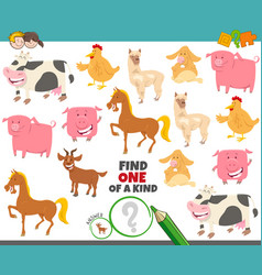 one a kind game for kids with farm animals vector image