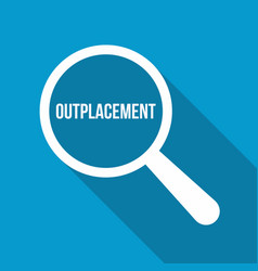 outplacement word magnifying glass vector image