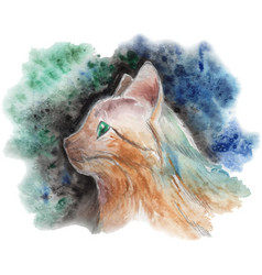 Painted cat portrait vector