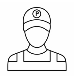 Parking attendant icon outline style vector