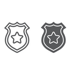 Police badge line and glyph icon police and vector