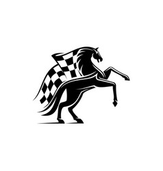 racing sport checkered flag and horse mustang vector image