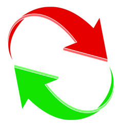 red and green arrows in circular motion vector image