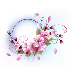 round banner with sakura vector image