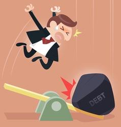 Scale between businessman and debt burden vector image