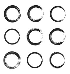 set isolated black thick ink brush circles vector image