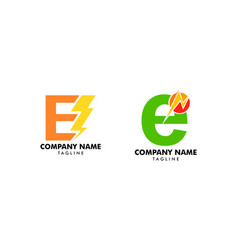 set letter e bolt logo symbol icon designs vector image