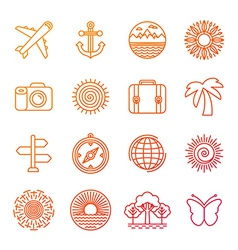 set linear icons related to summer vector image