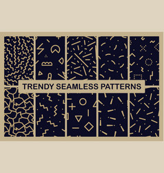 set memphis seamless patterns fashion 80-90s vector image