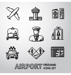 Set of handdrawn AIRPORT icons - airplane airport vector image