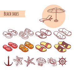 set of shoes summer beach vacations vector image